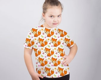 Cute Fox Shirt Fox T Shirt Fox Shirt Fox Gift Fox Print Child Outfit Kids Animal Shirt Boys Girls Graphic Tee Baby Fox Tee Fox Top PA1239