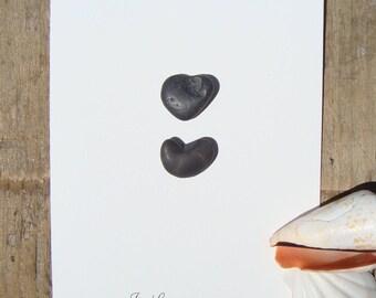 Sea pebble cards-Genuine sea pebbles-Sea pebble art-Hand made greeting cards-postcard with 2 hearts-Card OOAK-I Love You