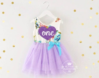 Baby girl first birthday outfit - Cake Smash Outfit, tutu dress,Toddler Dress, Baby Girl Dress,Lavender-Heart, Purple tutu dress, One