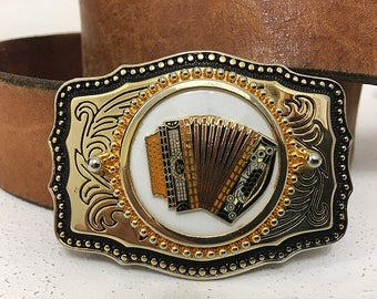 Accordion Belt Buckle For Men Women / Gift Gifts for Him Her Boyfriend Girlfriend / National Accordion Convention Cotati Accordion Festival