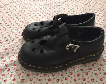 Vintage 1990s Doc Martens Black Leather T-strap Mary Janes UK size 3 US size 5