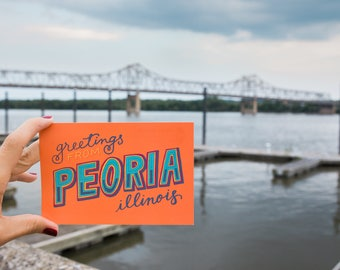 Hand-Lettered Peoria Postcards
