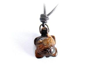 Mens turtle necklace carved tiger eye stone pendant leather cord necklace men adjustable leather necklace stone turtle necklace gift for him