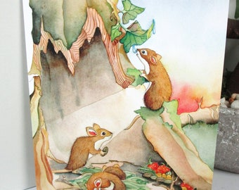 Cute  mice greeting card  watercolor print greeting card  birthday or everyday cards 5 card pack