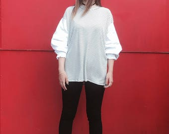 Striped Breton Sweater Shirt, Black and White Striped Top, Blousey Sleeves