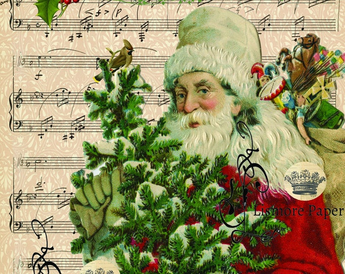 Vintage Santa Claus, Ephemera, Merry Christmas, Music Paper, Wall art, Scrapbooking, Craft Paper, Digital Art, Christmas Print