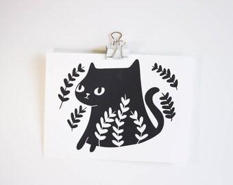 Black Cat Print / Cat Art Print / Art Prints / Black Cat Prints / Black Cat Art / Cats / Black Cats / Cat Lady Gifts / Cute Cat Art / Cute