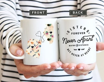 Sister Moving Mug, Mug for Sister Moving, Moving Away Sister Mug, Long Distance Sister Mug, Moving Away Gift, Sisters Forever Moving Mug