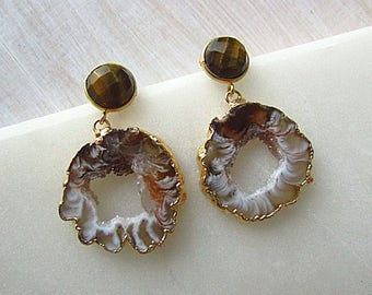 Geode drop earrings with Tigers Eye posts, statement earrings, natural stone jewelry, gift for her
