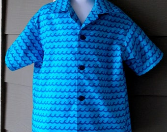 Blue Ocean Wave Print Toddler Boy's Camp Shirt