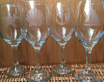 Nautical & Beach Etched  Wine Glasses