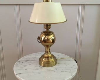 Vintage Small Brass Accent Lamp with metal shade/office/nursery/bookshelf
