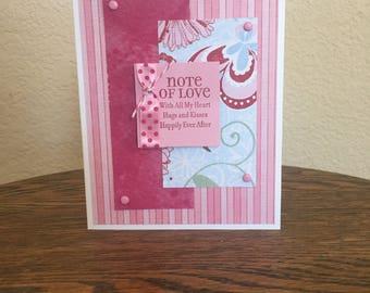 Valentine card homemade; pink Valentine card homemade; Valentine love card homemade;