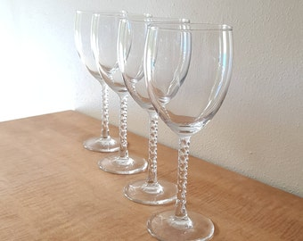 "Vintage Clear Crystal Wine Glasses ""Angelique"" Set of 4 in Box By Luminarc Made in the USA 1970s"