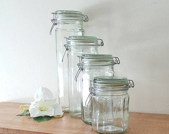 4 Cansiters Clear Green Tall Canisters with Wire Closures Paneled Glass Canister Set Apothecary Jars