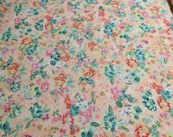 Fresh Cut-Cantaloupe-Basic Grey Floral Fabric from Moda Fabrics