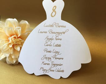 Bridal Shower Place Cards, Bridal Shower Seating Chart,  Engagement Seating, Dress Place Cards, Personalized Place Cards, Custom Place Cards
