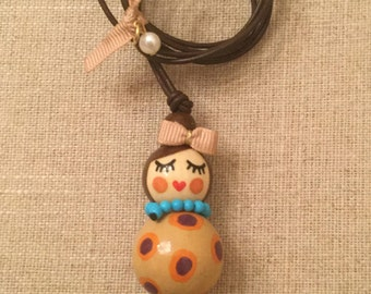 Hand painted wooden doll necklace