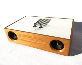 Bluetooth Speaker - REDONDO - Wireless - Mini Vacuum Tube High End Audio - Vintage Midcentury Modern - Mahogany Hard Wood