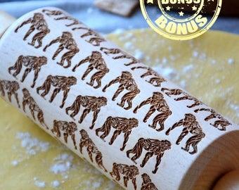 Deluxe Wooden Rolling Pin 4 Size Gorillas Monkeys Wild Animals Nature Embossed Pattern Bet idea for Gift Embosing roller Handmade Free Bonus