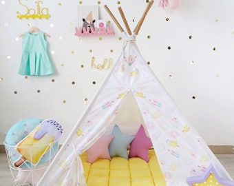 Yellow Kids Teepee with Donuts and Ice Creams, Girls teepee, kids playhouse, tipi with poles, kids wigwam, gift for kids, play tent, tepee