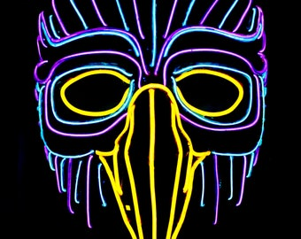 Forest Owl Light Up Mask - 20+Ft of EL Wire,Falcon,Bird,Hawk,LED,Purple,Blue,Burning Man,Bonnaroo,Rave,Mardi Gras,Masquerade,Party,Festival