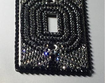 Metal Single Toggle Light Switch Plate Cover Fully Paved w/ Black, Silver Chrome, Gray & Clear Crystal Rhinestones ~Sparkly Bling Home Decor