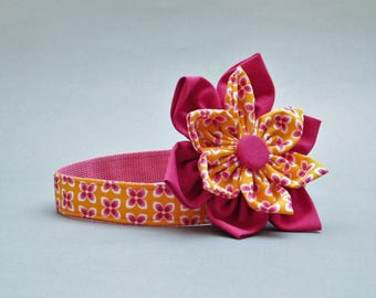 Yellow dog flower with collar Female for medium Cute for tiny Puppy girl Large breed 1 inch wide Luxury for Fall  Dogcollar Pet gift