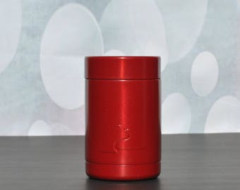 Ready to Ship! Red Powder Coated Ozark Trail 12 oz. Can Cooler - Ozark Trail Can Cooler - Engraved Can Cooler - Stainless Steel Can Cooler