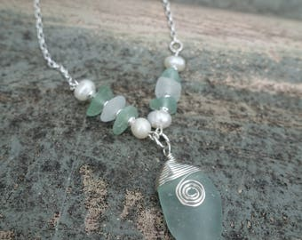 Genuine Sea Glass Necklace, Aqua and White Sea Glass from Australia, Unique One of a Kind Gift for Her, Christmas Gift, Beach Jewelry, Boho