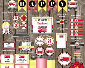 Firetruck, Firefighter, Fireman Birthday Party Pack-Digital
