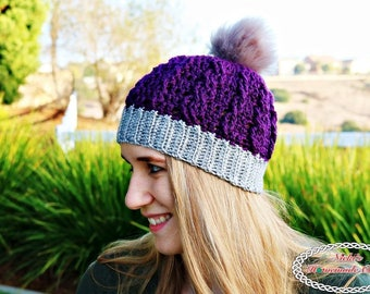 Crochet Pattern: Ribbed Cable Textured Beanie *adult *winter *teen *kids *warm *cozy *pom-pom