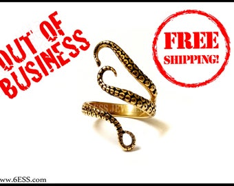 SALE Original High quality Steel Gold plated,Tentacle Octopus Leg Ring,Octopus Jewelry,Octopus Ocean Creature Jewelry,FREE SHIPPING-B217