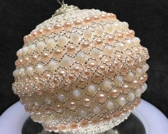 Christmas Tree Ornaments - Unique Christmas Ornaments - Christmas Beaded Ornaments – Pink Beaded Decorations - Xmas Ball - Christmas Gift
