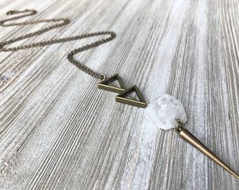Raw Quartz Pendant Necklace // Long Necklace // Clear Quartz Necklace // Raw Stone Necklace // Natural Stone Necklace // Spike Necklace