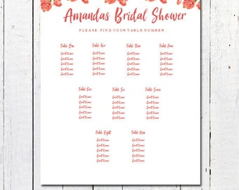 bridal shower seating chart template - floral bridal shower etsy