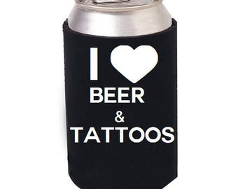 Beer and Tattoos beer cozie, Beer can cooler, Craft Beer cozie, I Love Beer, Beer can Cozie, Beer and Tattoos, Beer mug, Beer stein, Tattoos