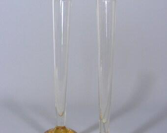 Vintage Glass Vases, Art Glass Vases, Bubble Bud Vase, Beautiful Vases, Pair Of Bud Vases,  Vintage Vase, Amber Glass Vase, Free UK Postage