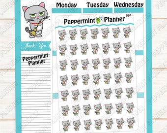 Grouchy Cat Sweeps the Floor --- Planner Stickers --- 694