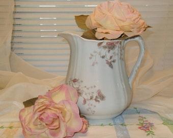 Vintage Milk Pitcher J & G Meakin Embossed Rose Flowers Shabby Chic