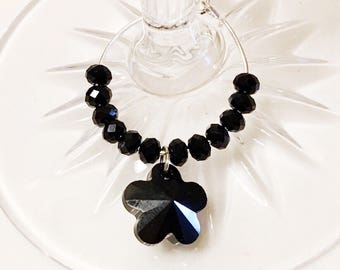 Black Swarovski crystal and glass beaded wine charm, wine glass charms