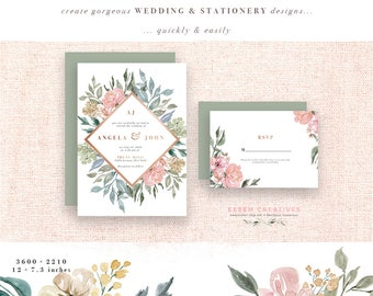 Neutral Wedding Flower Clipart Watercolor Background Rustic Vintage Floral Border Clip