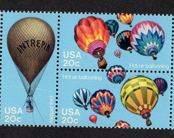 1983 Hot Air Balloons Postage Stamps Unused Block