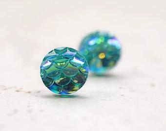 Tiny Aqua Mermaid Earrings 8mm, Iridescent Mermaid Tail, Blue Green Dragon Scales, Nautical Studs Whimsical Fantasy Jewelry