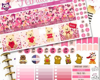 MK05 | February Love Fest | Monthly Planner Kit | Erin Condren Stickers | Valentine's Day Stickers | February Stickers | Happy Planner