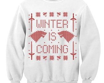 Christmas Sweater. Winter Is Coming. Game of Thrones Fan Sweatshirt. Jumper. Pulower. Wolf. Sword. Winterfell. Ugly Sweater. Party. Contest.