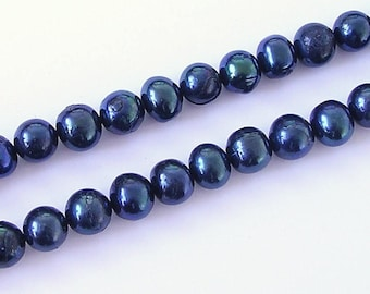 Black Cultured Potato Pearls, Freshwater Pearl Beads 4-5mm Round Pearls