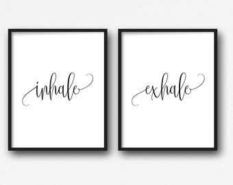 Inhale Exhale, Inhale exhale Print, Inspirational Quote, Inhale Exhale Wall Art, Inhale Exhale Poster, Quotes, Bestselling, Motivational Art