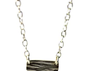 Delicate textured rectangle necklace