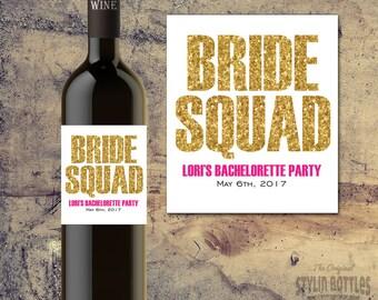 BRIDE SQUAD WINE Bottle Label-Bachelorette Party Wine Label, Gold Bling Wine Label, Gold Glitter Bachelorette Party-Party Wine Labels